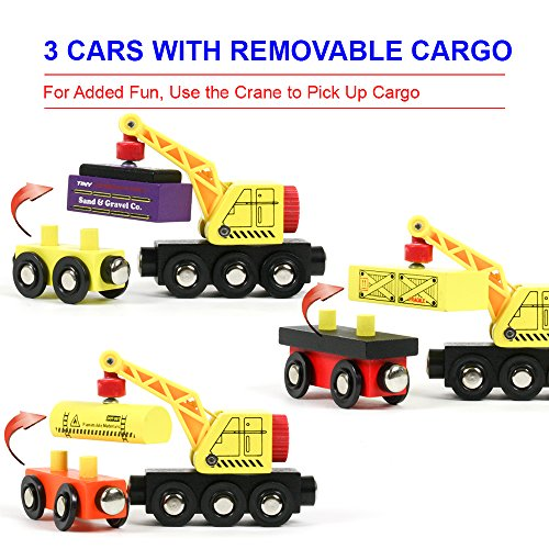 12 Wooden Train Cars + 1 BONUS Crane + 4 BONUS Connectors by Tiny Conductors - Locomotive Tank Engines and Wagons for Toy Train Tracks; Compatible with Thomas Wood Toy Railroad Set (Trains)