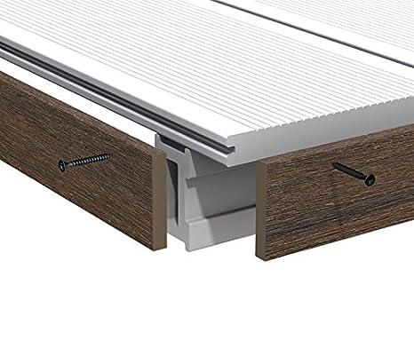 Pavimenti In Plastica Per Terrazzi.Profilo In Alluminio Marrone Per Wpc Assi Platinum 200 Cm Pieno