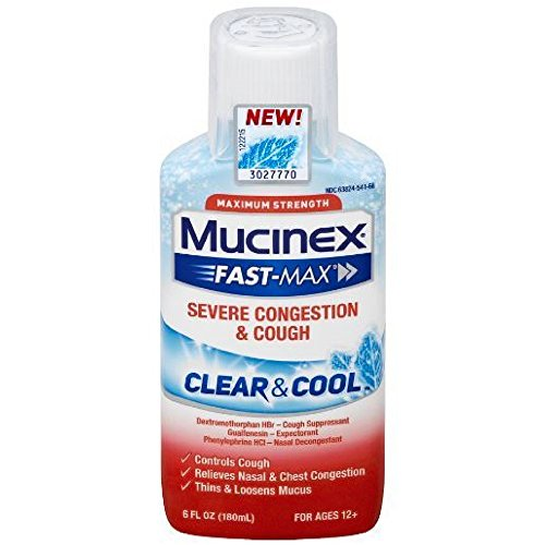 Mucinex Fast-Max Clear & Cool, Severe Congestion & Cough Liquid, 6oz