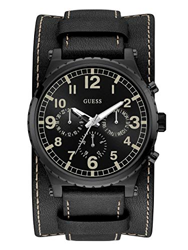 GUESS  Black Genuine Leather Chrono-Look Cuff Watch with Day, Date, 24 Hour Military/Int'l Time + Removeable Cuff Strap. Color: Black (Model: U1162G2) ()