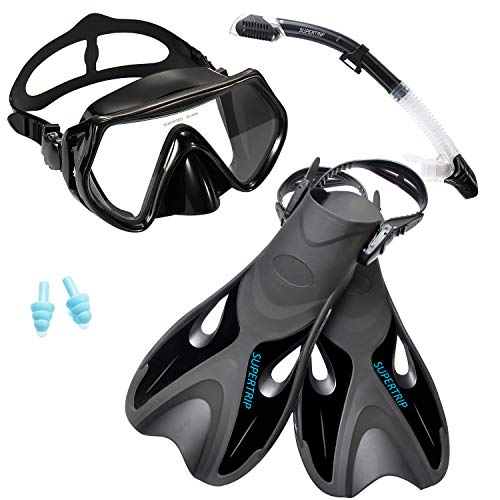 Supertrip Snorkel Set with Fins Impact Resistant Tempered Glass Anti-Fog Snorkeling Mask-Adjustable Diving Swimming Fins/Flippers-Dry Top Snorkel Included(Black L/XL)