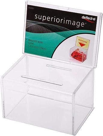 Deflect-o - Caja para sugerencias o propinas con soporte para cartel (152 x 102 mm), transparente: Amazon.es: Oficina y papelería