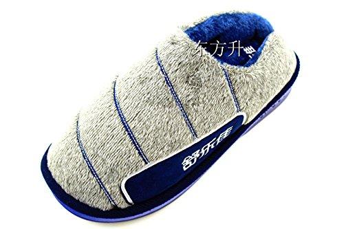 Fankou maschio e femmina paio di pantofole di cotone mezza pensione a caldo con gancio spessa blu-grigio ,43-44,