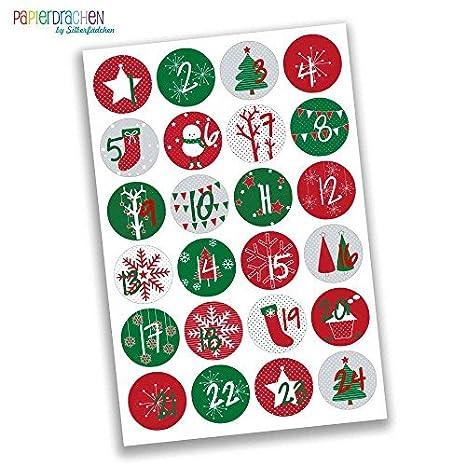 Creare Calendario Avvento.Papierdrachen 24 Adesivi Con Numeri Per Il Calendario Dell Avvento Rosso E Verde Classico N 15 Adesivi Per Creare E Decorare