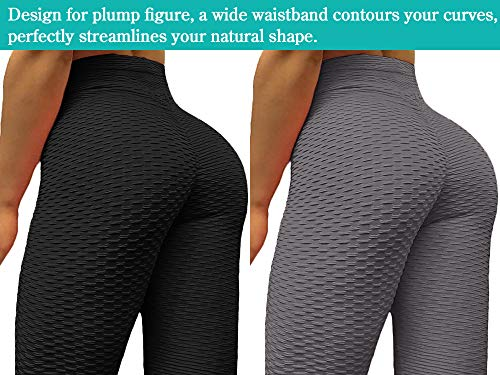 Neleus Women's 2 Pack Tummy Control High Waist Leggings Out Pocket,9036,Black/Grey,S,EU M by Neleus (Image #5)