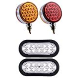 "2pcs Double Face Round 48-LED Pedestal Lights + 2pcs 6"" Oval Clear Lens 10-LED RED Brake Stop Tail Lamps Grommet Plug for Semi Truck Trailer Kenworth Peterbilt Freightliner Mack Volvo 12V"