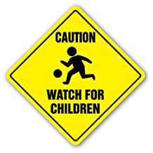 """MS 16.5in """"CAUTION & WATCH FOR CHILDREN"""" Yellow Rhombus Metal Sign HD42"""