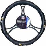 15 X 15 Inches NFL Vikings Steering Wheel Cover, Football Themed Three Sides Team Logo Name Vibrant Rubber Grip Sports Patterned, Team Logo Fan Merchandise Athletic Team Spirit, Purple Gold Black, Pvc