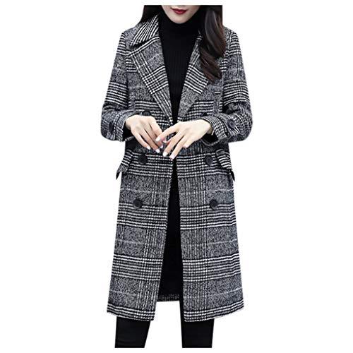 KaloryWee Wool Coat Ladies Plaid Winter Trench Coats Fashion Longline Check Coat Women Plus Size Jackets Vintage Outwear