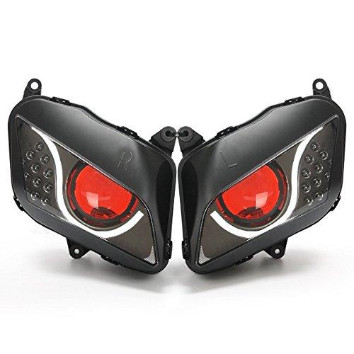 KT LED Optical Fiber Headlight Assembly for Honda CBR600RR 2007-2012 V2 Red Demon Eye