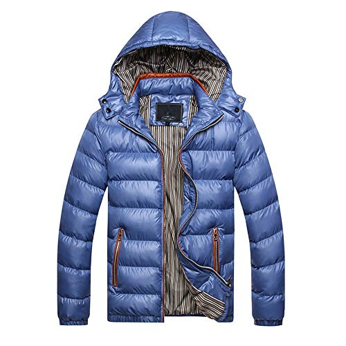 F1rst Rate Men's Hooded Packable Ultra Light Weight Short Down Jacket(Blue-M) -