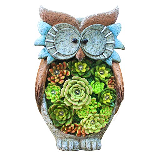 Owl Figurine Lawn Ornaments - Solar Powered LED Outdoor Lights Resin Garden Statue for Yard Decorations, 10.5