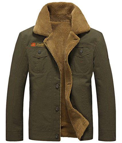 Bomber Jacket Breasted Army Men's Chouyatou Cotton Casual Sherpa Single Lined Green 107wq8xB