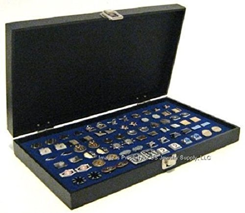 (Black Large Solid Top Blue 36 Pair Cufflinks Jewelry Showcase Storage Organizer Display)