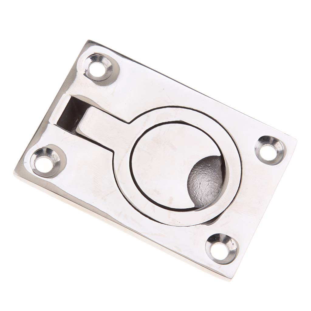 Perfeclan 2 Pieces Reliable Floor Latch Flush Pull Ring Full 316 Stainless Steel Floor Lift Handle Hatch Pull Buckle for Boat Marine