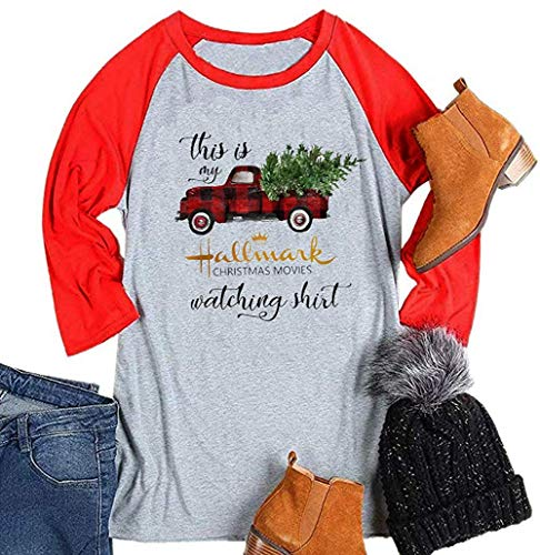 Enmeng This is My Hallmark Christmas Movie t Shirt Long Sleeve Christmas Sweatshirt (M, Grey)