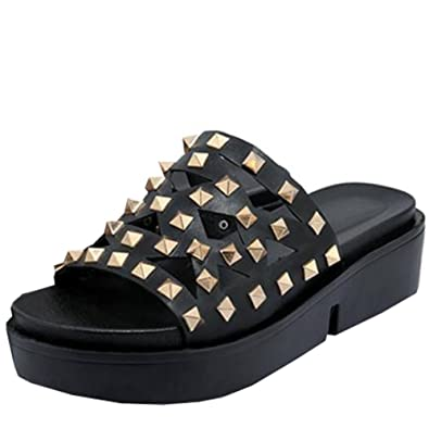 785b3be07a4 Easemax Women s Open Toe Thick Sole Cutout Studded Mid Wedge Heel Platform  Slide Sandals Black 4