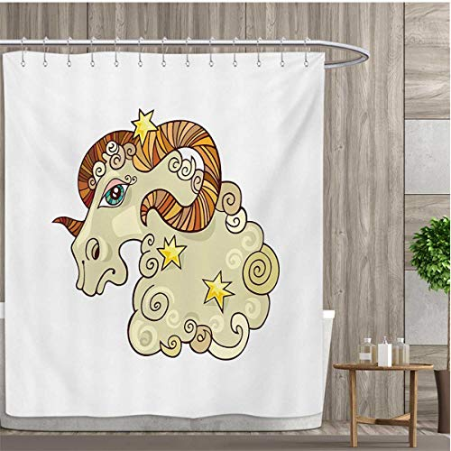 Zodiac Aries Patterned Shower Curtain Cartoon Comic Style Ram Animal Fluffy Funny Cosmic Character with Yellow Stars Shower Curtain Collection by 48