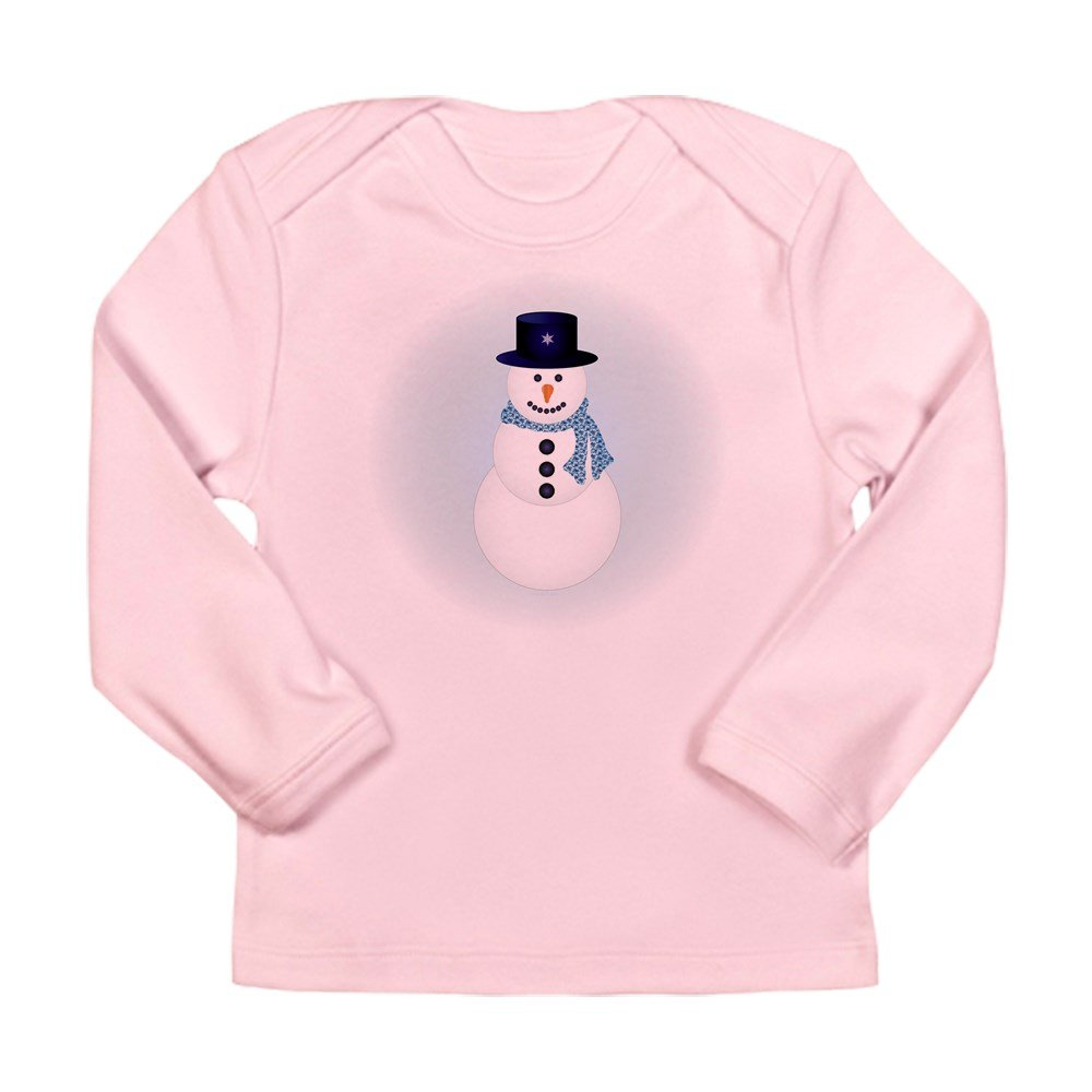 Truly Teague Long Sleeve Infant T-Shirt Snowman With Winter Blue Aura 6 To 12 Months Petal Pink
