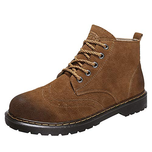 Mens Womens Ankle Boots Lace Up Fashion Waterproof Anti-Slip Outdoor Work Hiking Martin Combat Bootie Boot(Camel-Lable 41/7.5 D(M) US Men)