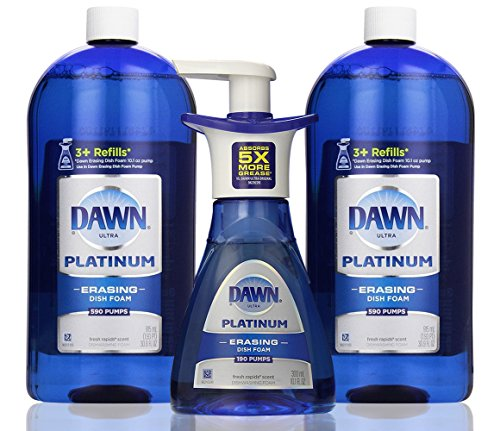 Dawn Platinum Erasing Dish Foam Bundle, 2 Refills and Pump, Fresh Rapids Scent, 30.9 Fluid Ounce (2 PACK and PUMP)