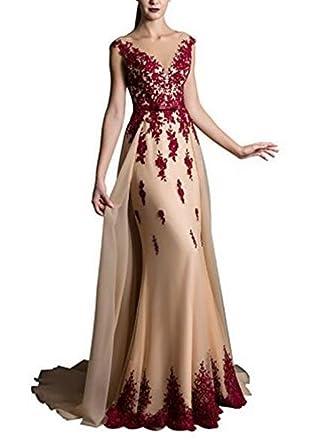 Formaldresses Elegant Champagne Mermaid Evening Dress Detachable Skirt Prom Dress Burgundy Lace (Custom Size)