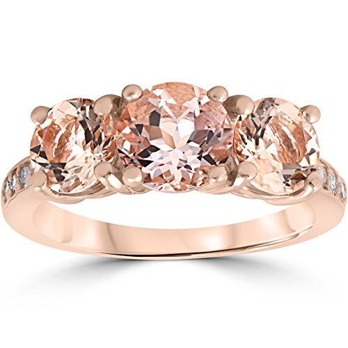 - 3 1/4 ct Morganite & Diamond 3-Stone Ring 14k Rose Gold - Size 7