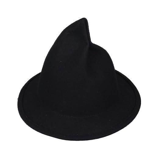 Bigood Winter Women Steeple Wool Piles Sharp Pointed Witch Hat 53-54cm Black eab7598a4145