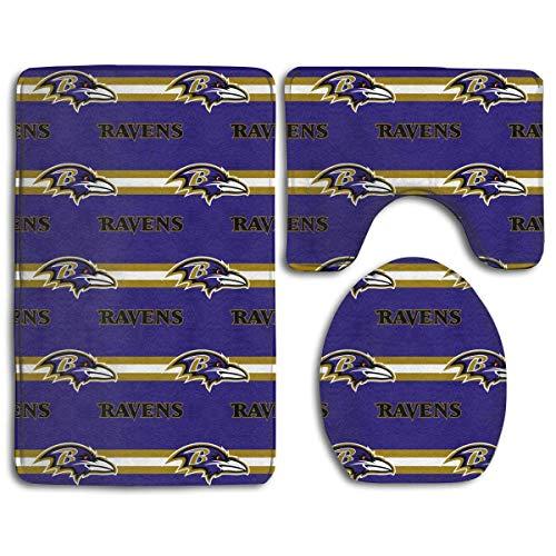 zhong-LRS.guo !!! Custom Colorful Doormat American Football Team Baltimore Ravens Indoor Bathroom Anti-Skid Mats,3 Piece Non-Slip Bathroom Rugs,Non-Slip Mat Bath + Contour + Toilet Lid ()