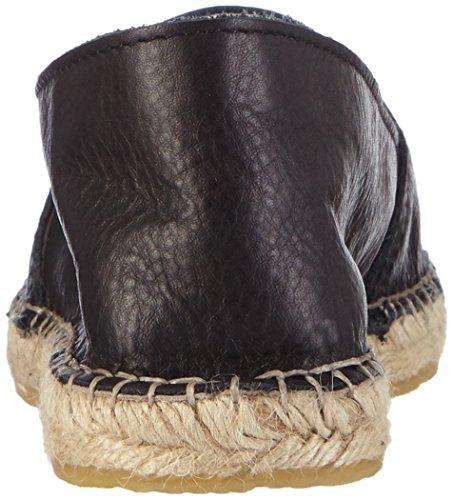 black Psjosephine Pieces Espadrilles Noir Espadrillos Femme Leather 4Yvvqa