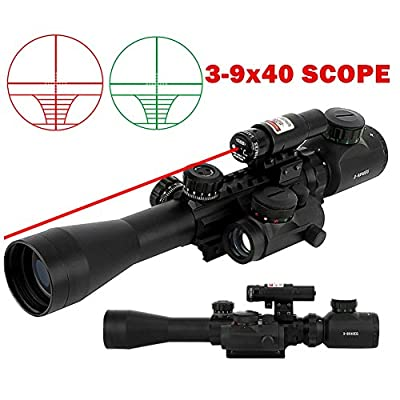 Beileshi 3 in 1 Combo 3-9x40 Tactical Hunting Rifle Scope with Red Laser & Red Dot Sight of Red / Green Reticle Mount from Beileshi