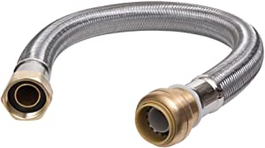 """SharkBite GIDDS-134239 Hose, Push-to_Connect, Copper, PEX, CPVC Flexible Water Heater Connector 3/4"""" FIP, 3/4 Inch x 3/4 Inch x 12 Inch, Stainless Steel"""
