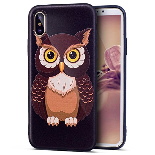 iPhone X Case, iPhone X Clear Case,ikasus Ultra Thin Colorful Art Painted Pattern Soft Black TPU Silicone Rubber Bumper Floral Back Case Cover for iPhone X,Owl