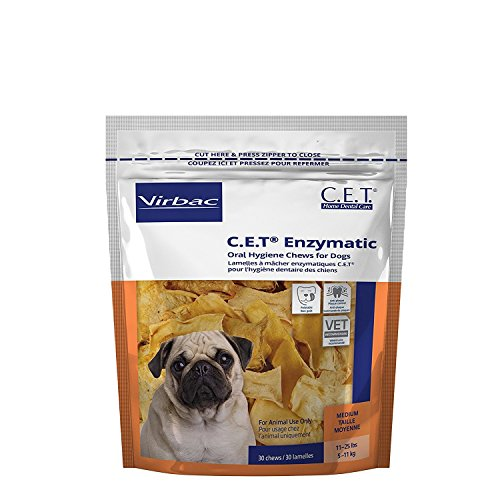 C.E.T. Enzymatic Oral Hygiene Chews for Medium Dogs, 30 Chews (1 Bag) by Virbac by Virbac