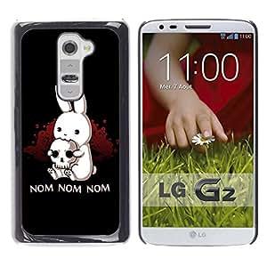 Qstar Arte & diseño plástico duro Fundas Cover Cubre Hard Case Cover para LG G2 / D800 / D802 / D802TA / D803 / VS980 / LS980 ( Rabbit Horror Skull Pirate Art Quote Nom Nom)