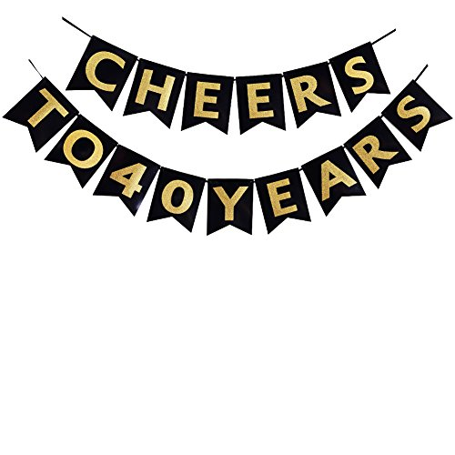40th Birthday Table Decorations (Cheers to 40 Years Banner 30th Birthday Party Banner 40th Anniversary Party Decoration bunting (40th))