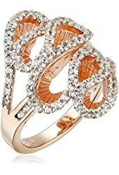 18k Rose Gold over Sterling Silver Created White Sapphire Ring, Size 7