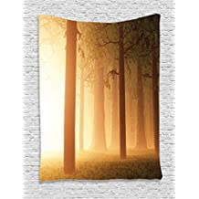 Ambesonne Magic Home Decor Tapestry Wall Hanging, Foggy Mist Hazy Forest with Sun Beams and Rays Spiritual Woodland Spiritual Nature Design, Bedroom Living Room Dorm Decor, 60 W x 80 L Inches, Tan