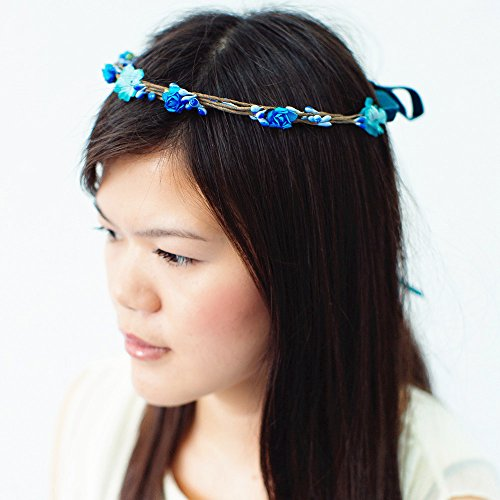 Nava Handmade Boho Blue Floral Garland Crown Hair Hoop Headband Wedding Bridal Party