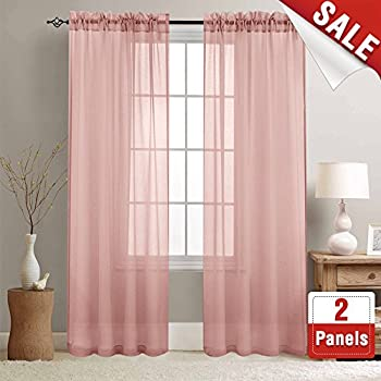 Amazon.com: Sheer Curtains Pink 84 inches Long for Bedroom Window ...