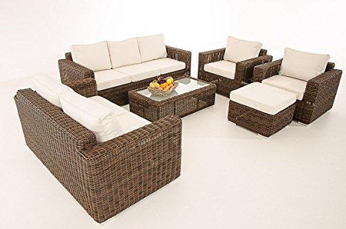 3-2-1-1-Sofa-Garnitur-CP050-Lounge-Set-Gartengarnitur-Poly-Rattan-Kissen-creme-braun-meliert