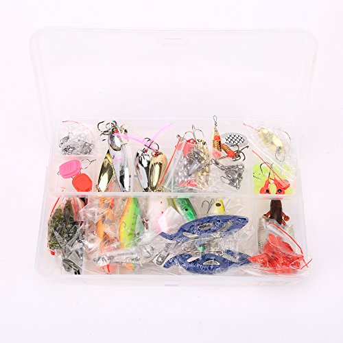 101 Pieces Almighty Fishing Lure Kit(Minnow VIB Crank Pencil Popper Pliers) With Case
