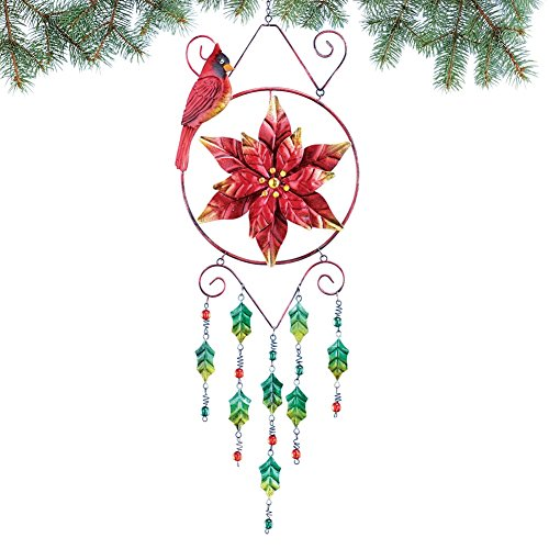Collections Etc Poinsettia Wind Chime Christmas (Christmas Wind Chimes)