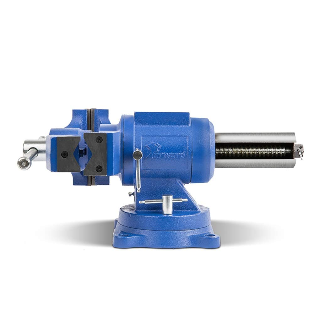 Forward DT08125A Tornillo de banco de 5 pulgadas para trabajo pesado, base giratoria de 360 grados y cabezal con yunque (5 )