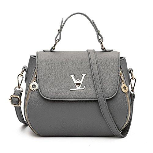 Cinque cerniera Diagonale borsa NVBAO Chiusura colori Donna a Fashion Litchi singola tracolla purple Grain grey Packets a Cross Shopping 8wZF6q