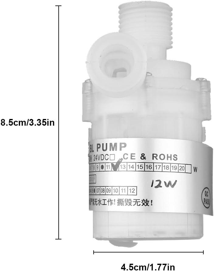 SANON Bomba de Agua de CC sin Escobillas Mini CC Ultra Silenciosa 12V 12W Bomba de Agua Sumergible sin Escobillas Blanca de Grado Alimenticio 3 Cabezal de Elevaci/ón de 5 M