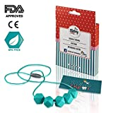 Image of Silicone Teething Toys AUTISM ADHD Fidget Toy Necklace / Nursing Baby Beads Pacifier 30 Inch / Safe + Gift Box (Blue/Turquoise)