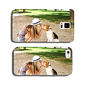 girl kissing her beagle dog in nature outdoors. cell phone cover case Samsung S6