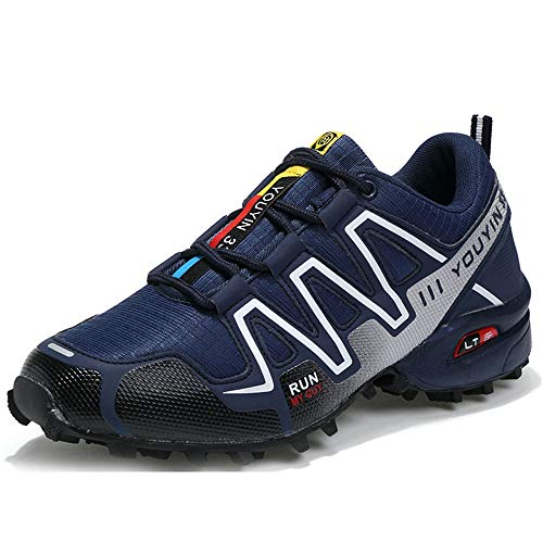(Super frist Men Hiking Shoes Lightweight Breathable Non Slip Sneaker Outdoor Trail Running Trekking(Dark Blue & 45/10.5 D(M) US Men))