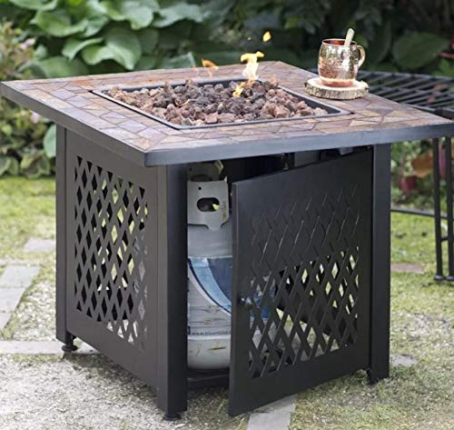 - Jar Outdoor- Firepit Table for Outside-Portable Propane Fire Pit-Cozy Fire Ambiance for Nights Spent at Your Patio-Color Black Lattice Work Steel Slate Tile